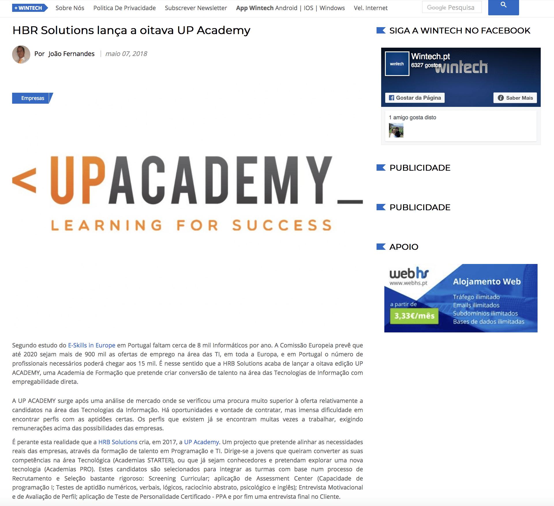 HRB Solutions lança a oitava UP Academy - wintech