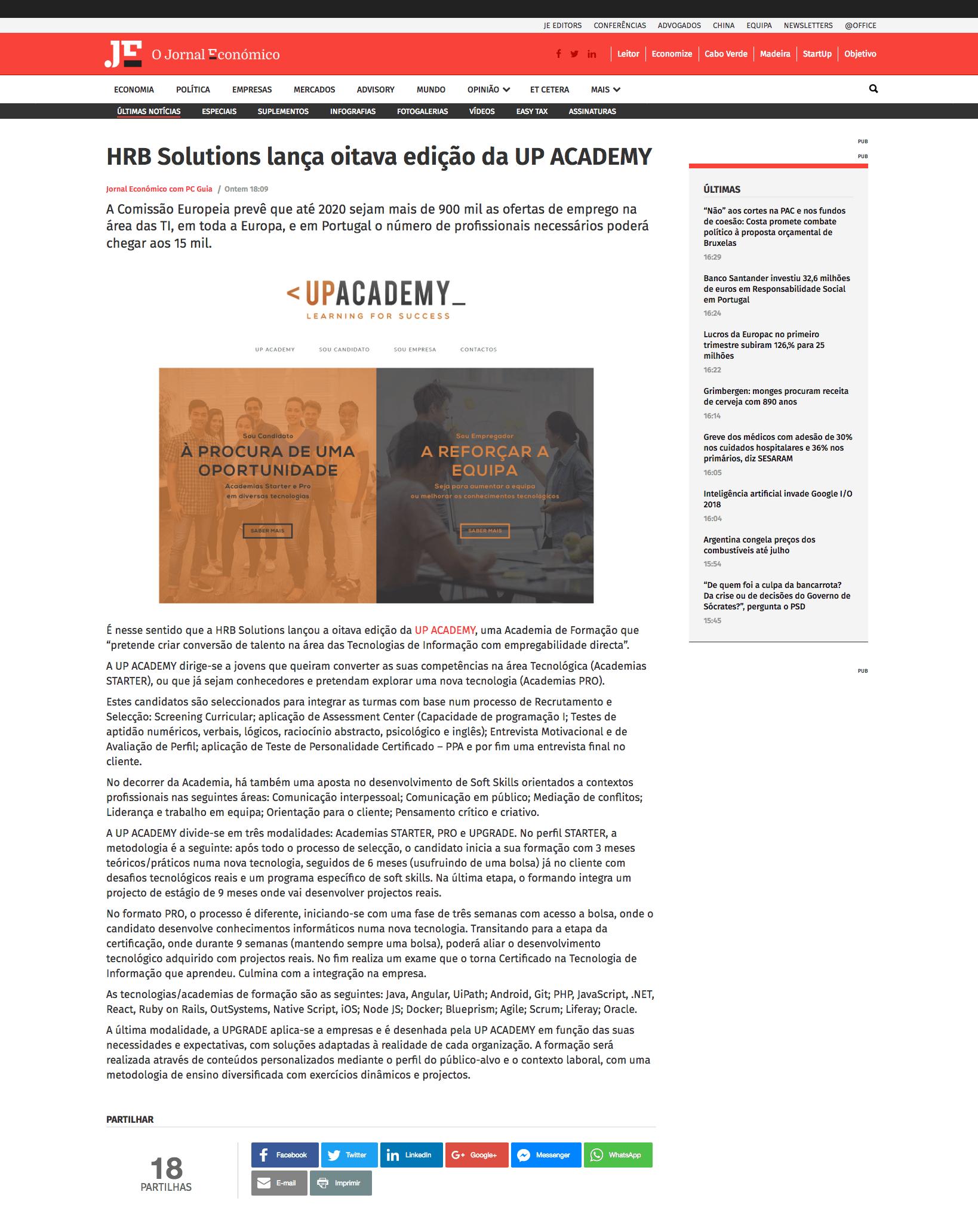 HRB Solutions lança oitava edição da UP Academy - Jornal Económico